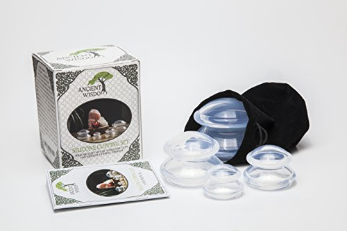 ANCIENT WISDOM Cupping Set (4 Sizes) w/ Pouch & Manual. Chinese Cupping Therapy Set for Anti Cellulite, Detox, Myofascial Massage. Premium BPA Free Silicone. for Body/Face