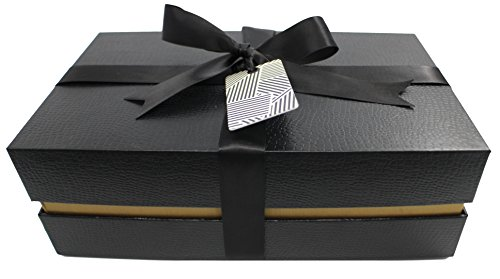 Black + Gold Fancy Gift Box - Wrapping Kit | Medium 10.5 x 6.5 x 3.25 inches (Manhattan -