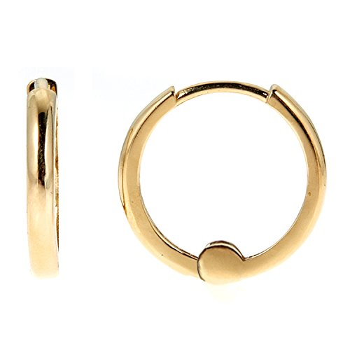 14k Yellow Gold Childrens Hoop (Children's 14k Solid Yellow Gold Baby Huggies Hoops Earrings 1.5x9 Mm)