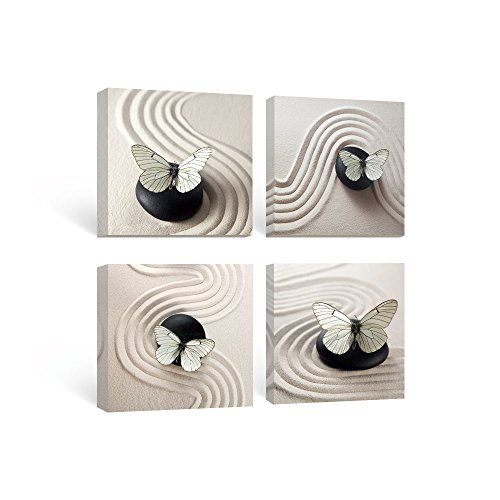 SUMGAR Butterfly Black and White Wall Art for Bedroom Canvas Paintings Zen stone Ready to Hang set of 4 panel,12x12in/pcs