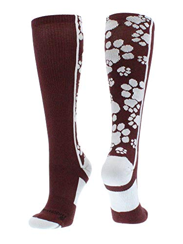 Crazy Socks with Paws Over The Calf (Maroon/White, Small)