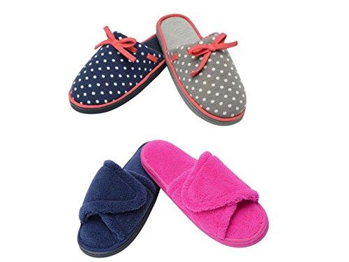 Mujer Peonia/Fresia Dunlop Espuma Viscoelástica Mocasín Sin Cordones Pantuflas Set De Regalo Zapatos Talla 3-8 Fucsia