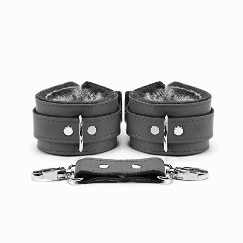 Baltimore Wrist Cuffs Ankle Cuffs Supreme Lambskin Leather (Grey, Wrist) -
