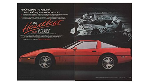 (Magazine Print Ad: Red 1989 Chevy Corvette 5.7L V8, 98 Driver Tom Bell, 2 pages