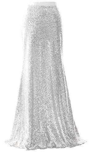 MACloth Elegant Sequin Long Mermaid Skirt Wedding Bridesmaid Party Dress (US26w, Silver)