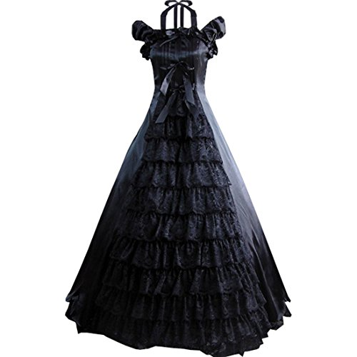 Partiss Women Bowknot Floor-length Ruffles Gothic Victorian Lolita Dress, L, Black (Female Costumes For Comic Con)
