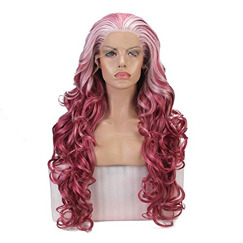(FSLWIGS Natural Wave Synthetic Lace Front Wigs White Wine Red Mixed Ombre Heat Resistant Fiber Hair for Women)