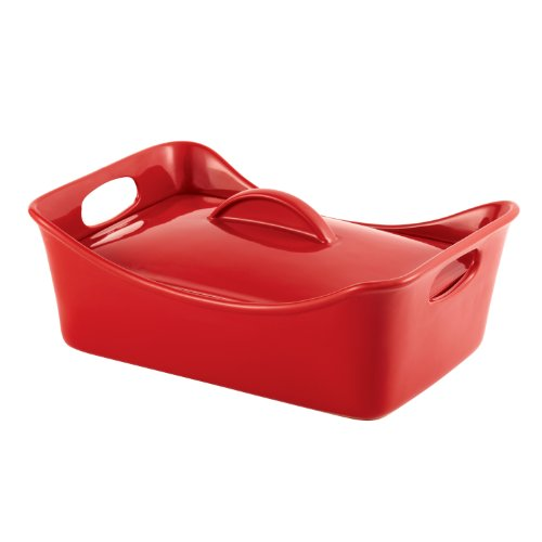 Rachael Ray Stoneware 3-1/2-Quart Covered Rectangle Casserole, Red