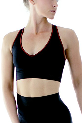 Schwarzes Damen Racerback Crop-Top Sport-BH Made in Italy von Ethical Activewear Marke Sundried®