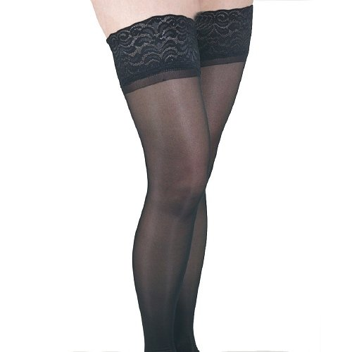 ITA-MED Sheer Thigh Highs - Compression (23-30 mmHg): H-80, Black, Small 1 pr