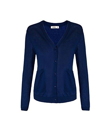 Women Button Down Long Sleeve Basic Soft Knit Cardigan Sweater Navy Medium