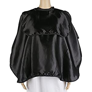 Shortie Makeup Smock, Beautician Cape, Segbeauty Beard Shaving Comb-out Cape, Lightweight Salon Cape Artist Esthetician Client's Cape, with Hook and Loop Closure, Black
