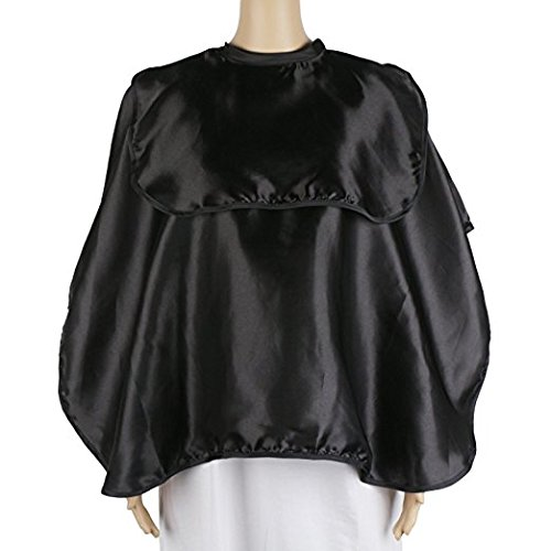 Shortie Makeup Smock, Segbeauty Beautician Satin Cape, Makeup Bib, Beard Shaving Comb-out Cape, Lightweight Salon Cape Artist Esthetician Clients Cape, with Hook and Loop Closure, Black
