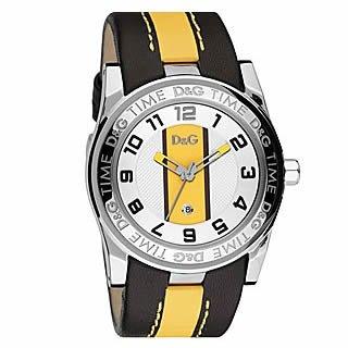Dolce & Gabbana correa de reloj DW0215 Cuero Negro + costura amarilla(Sólo reloj correa