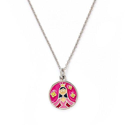 Girls Silver Rhodium Plated Wishes Princess Pendant Expandable (Avery Brass Pendant)