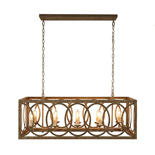 Thiago 41 Brown 10 Light Rectangular Chandelier