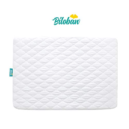 "Biloban Pack N Play Mattress Pad - Comfort Cotton Surface, 100% Waterproof, 39"" x 27"" Fitted for Mini & Portable Playard Crib/Mattress - White"