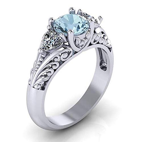 Women Flower Hollow Bands 925 Sterling Silver 3 Stone Rings Natural Blue Gemstones Bride Wedding Heart Engagement ()