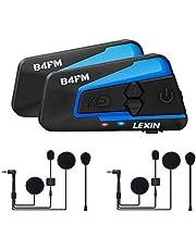 LEXIN 2pcs LX-B4FM Intercom Moto Duo Imperméable pour 2 Casques Ecouteurs Bluetooth Oreillette Kit Mains Libres Moto Anti Bruit Interphone Communication Système Jusqu'à 4 Motards pour Helmet Ski
