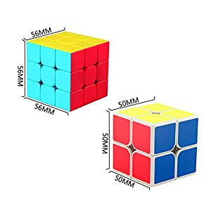 Eyewalk Speed Cube Bundle Set Magic Cube Puzzle 3x3 2x2 Pyraminx (3 Pack) New Anti-Pop Structure Toys for Kids,With 3 x Cube Stand