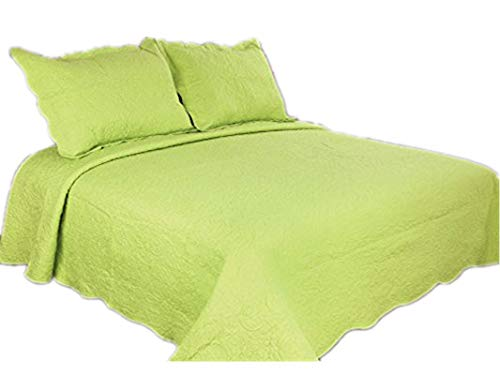 ALL FOR YOU 2-Piece Reversible Embroidered Bedspread/coverlet/Quilt Set-twin Size-lime green ()