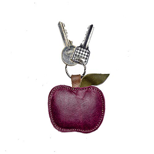 Hide & Drink, Leather Apple Keychain/Ring/Charm/Key Holder/Fruit/Cute, Handmade Includes 101 Year Warranty :: Sangria