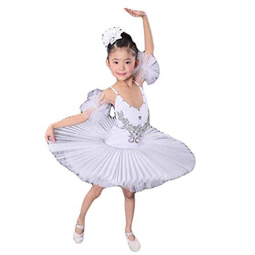 White Swan Ballet Costume ((Toddler/kid)Ballet Dress/Sling Ballet Skirt/Swan Lake Costumes-White)