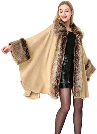 One size Crochet poncho cape in wool blend with faux fur trim in very soft microfibre can be worn in 2 ways Handmade