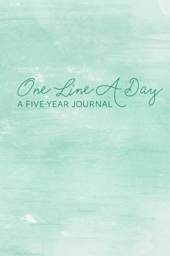 One Line A Day Five Year Memory Diary: 6x9 Undated and Lined Journal - Minimalist Design - Green Watercolor pdf epub