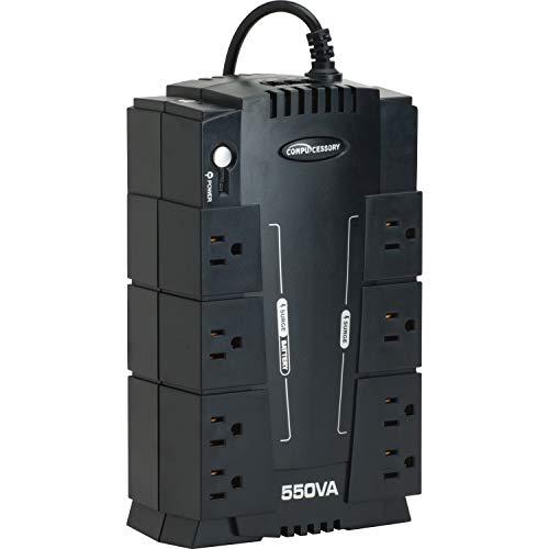 Compucessory 25653 UPS Backup System w/AVR 8 Outlets 550VA 330W 6-Ft Cord Black ()