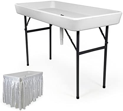 RecPro 6 Foot Cooler Ice Table Party Ice Folding Table with Matching Skirt – White