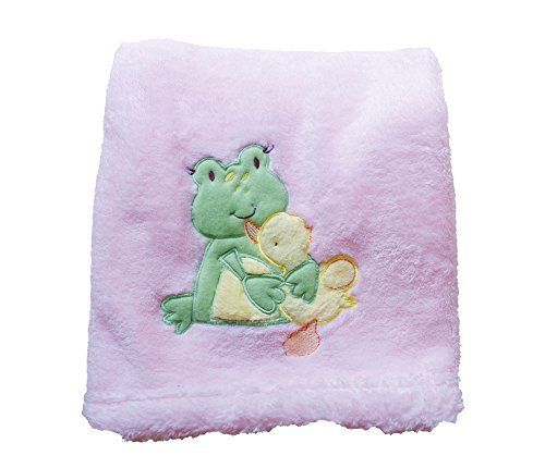 Danica Super Soft Coral Fleece Baby Blanket, Cute Animal Pattern, 40