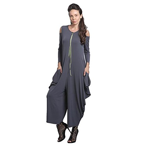 IC Collection Cold Shoulder Jumpsuit In Charcoal Plus Size Available 8419 (Medium) by IC Collection