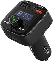 VICTSING Transmetteur FM Bluetooth Kit Voiture sans Fil Transmetteur Radio Mains Libres avec Deux Ports USB, Charge Rapide 3.0, Fente de Carte TF