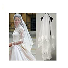 AK Beauty Bridal Accesories Wedding Veils Lace One Layer White/Ivory Bridal Veils