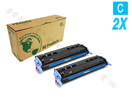 (Remanufactured Replacement for HP 124A (2 x Q6001A) Cyan Toner Cartridge for HP Color Laserjet 1600, 2600N, 2605DN, 1015MFP, 1017MFP Series Printers.)