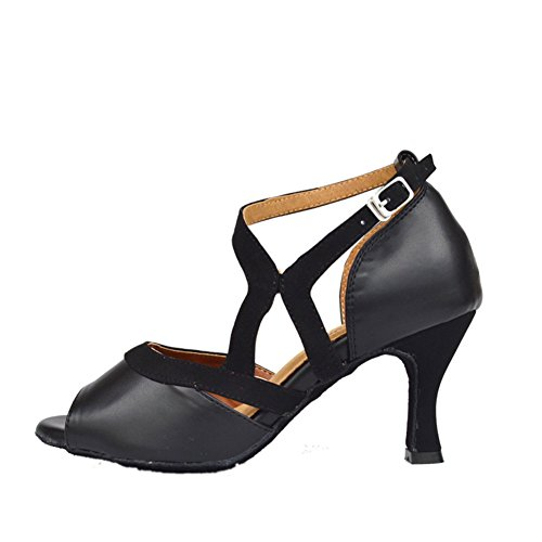 Moderne Womens D'intérieur Chaussures de Moyens Fond de Mou Sandales Danse Peep Danse Noir Latine Talons WYMNAME Chaussures Toe f6xUwaxq