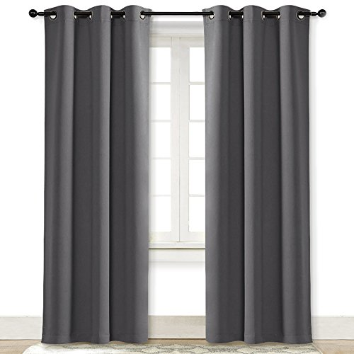 NICETOWN Gray Curtain Blackout Drape Panel Three Pass Microfiber Noise Reducing Thermal Insulated Window Drapery with Grommet (Single Panel, 42 x 84 Inch, Grey)
