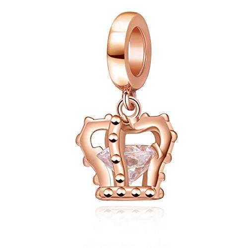 SoulBeads Princess Crown Charms 925 Sterling Silver Tiara Dangle Charm Fits Bracelet
