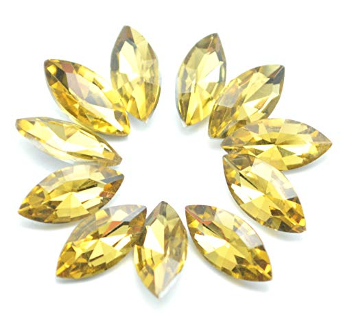 Catotrem Horse Eye Shape Crystal Clear Glass Rhinestones Pointback Fancy Stones Inlay for Necklace Wedding Dress Decorations7x15mm(50pcs-Yellow)