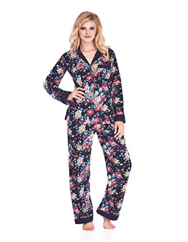 Mio Lounge Sally Dark Blue and Wine Floral Polka Dot Soft Brushed Cotton Pyjama Set PJs ML16C2PJ
