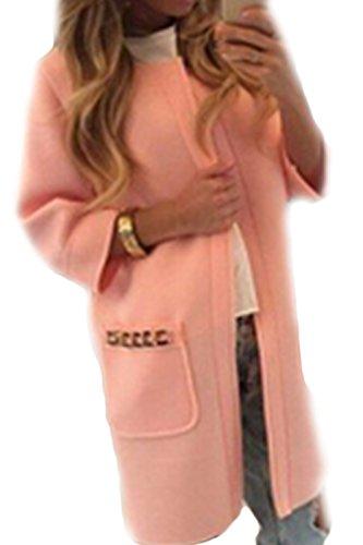 Les Femmes L'hiver Solide Devant Laine Vtements Manteaux Bonbons Couleur Poche Ouverte pink