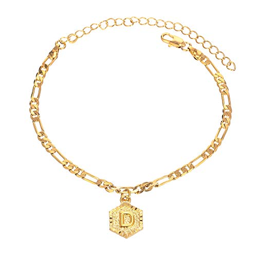 Kelistom 18k Gold Plated 4mm Figaro Chain Initial Anklet for Women Fashion Ankle Bracelet with Letter Alphabet Foot Jewelry with Extension (D)