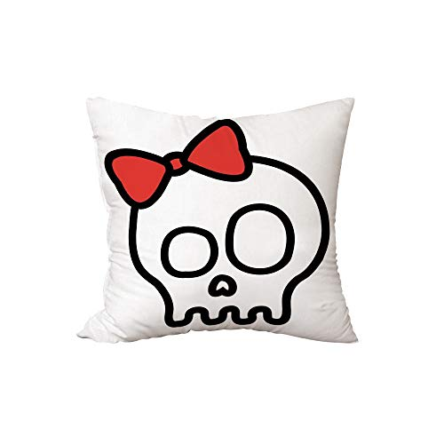 iPrint Polyester Throw Pillow Cushion,Skull,Illustration of Baby Skull Girl with Lace and Halloween Dead Head Teen Emo Art,Red White Black,15.7x15.7Inches,for Sofa Bedroom Car Decorate