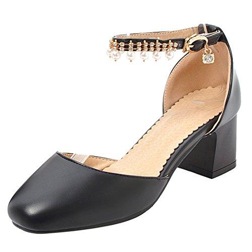 Coolcept Women Fashion Block Heel Sandals Closed Toe Black-46 3pwRkrUdQ3