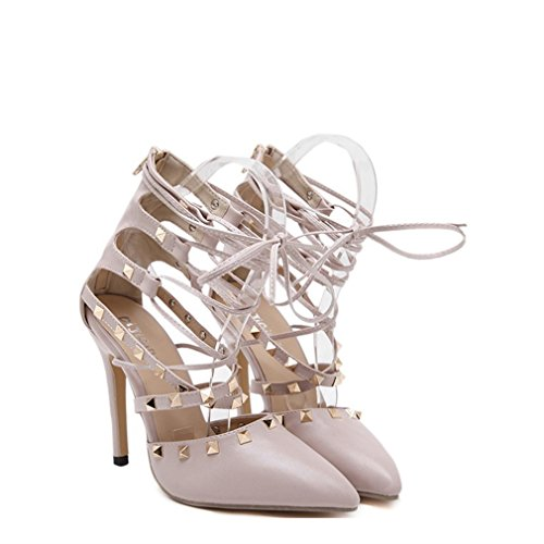 Womens Pointed Stiletto PU Fashion Pumps with Rivets Apricot - 5