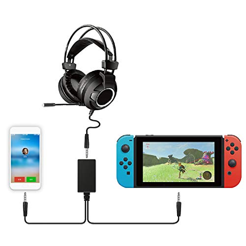 Audio 2-in-1 Converter for Nintendo Switch, Audio Chat Adapter NS Headset Audio One-Two Conversion Line Converter for PG-9176 Switch ()