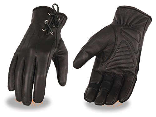 Milwaukee Women's Gel Palm Motorcycle Soft Leather Blk Welted Gloves W/Laces Wrist NEW (3XL Regular)