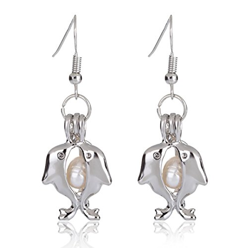 HENGSHENG 6-7 mm Freshwater Cultured Oval Pearls Dolphin Cage Locket Pendant Dangle Earrings (Style 8)
