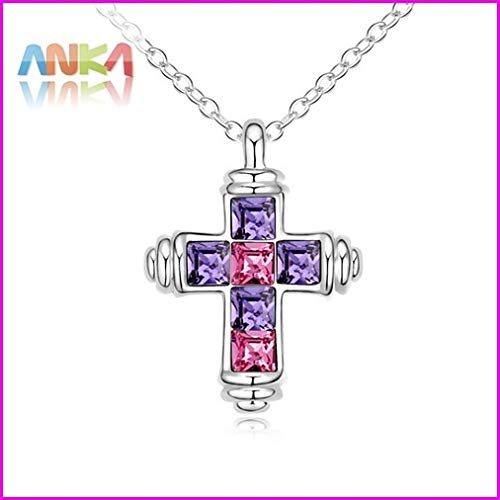 (Women's Trendy Cross Crystal Pendants & Necklaces | Fashionable Link Chain Jewelry | Rhodium Plated Crystals)
